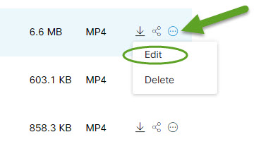List of recorded Webex meetings. An arrow is pointing to the ellipsis button. Edit is circled.