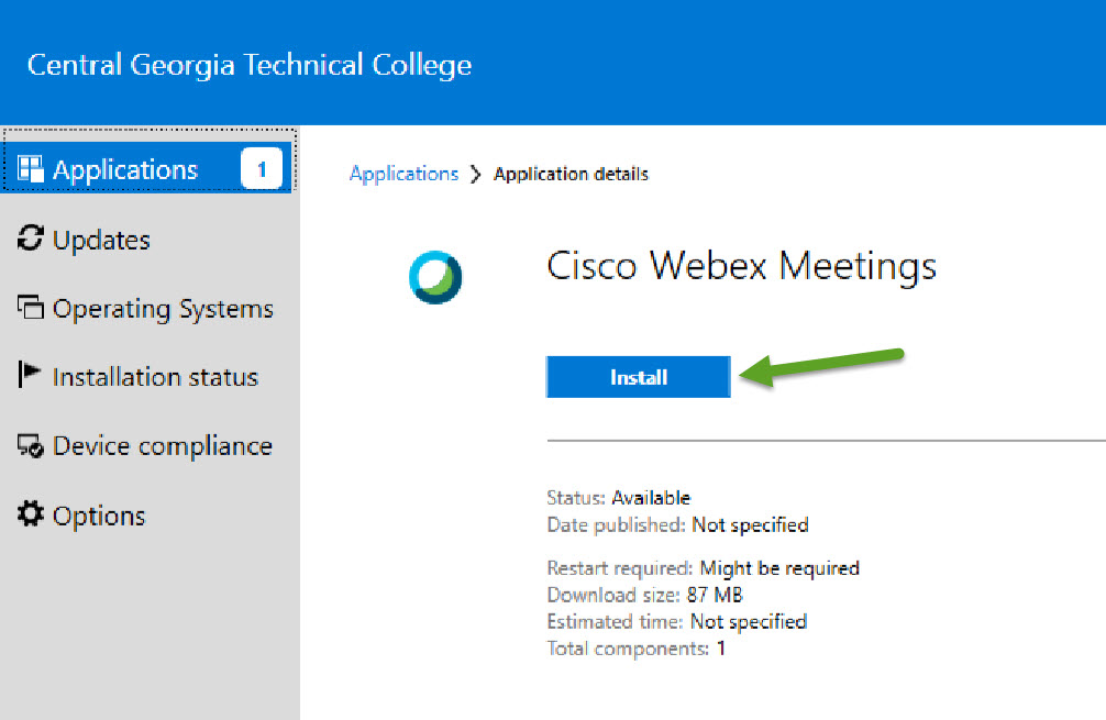 Applications details for Cisco Webex Meetings. An arrow is pointing to the Install button.