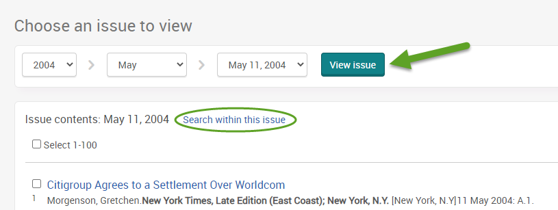 """the ProQuest search screen for the New York Times. An arrow is pointing to the view issue button and """"Search within this issue"""" is circled."""