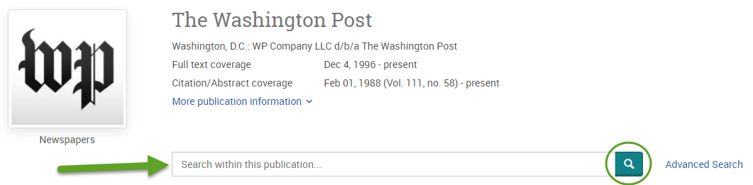 the ProQuest search screen for the Washington Post. An arrow is pointing to the search bar and the magnifying glass button is circled.