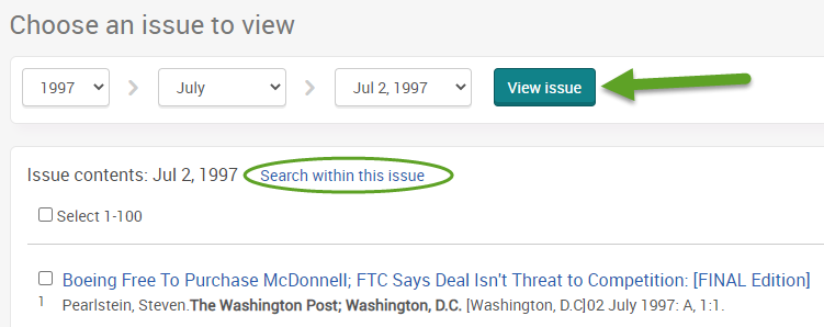 "the ProQuest search screen for the Washington Post. An arrow is pointing to the view issue button and ""Search within this issue"" is circled."