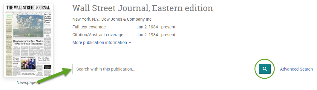 the ProQuest search screen for the Wall Street Journal. An arrow is pointing to the search bar and the magnifying glass button is circled.