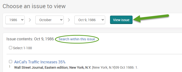 "the ProQuest search screen for the Wall Street Journal. An arrow is pointing to the view issue button and ""Search within this issue"" is circled."