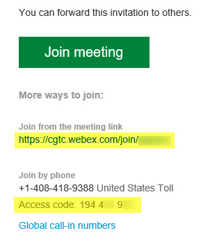 a Webex meeting invitation email. The join meeting link and access code are highlighted.