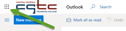 The CGTC student email interface. An arrow is pointing to the App launcher button.