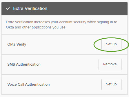 Extra verification menu. The set up button is circled.