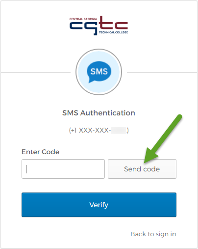 The Single Sign-On SMS Authentication screen. An arrow is pointing to the Send code button.