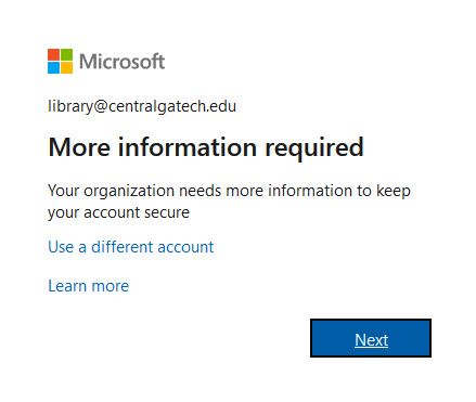 the Microsoft prompt for more information