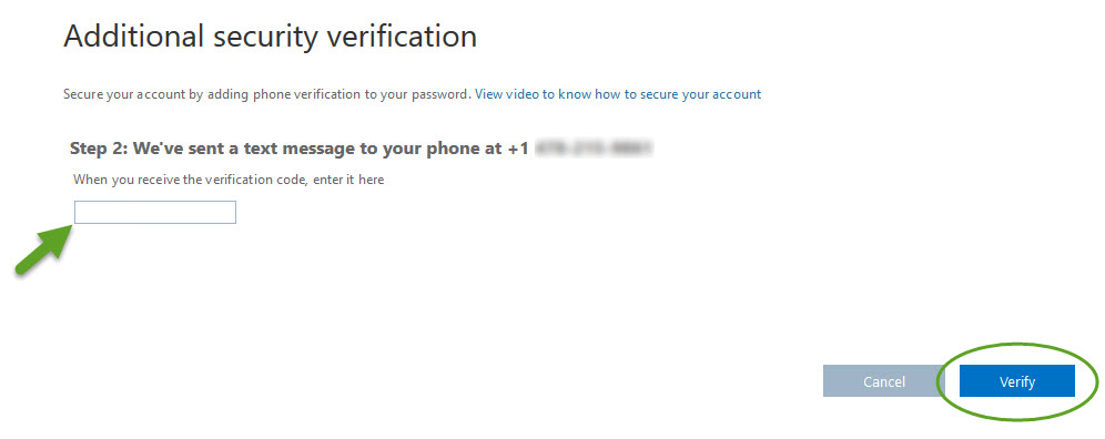the additional security verification form, step 2. An arrow is pointing to the field where you enter your verification code. The verify button is circled.
