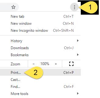 The Chrome menu.