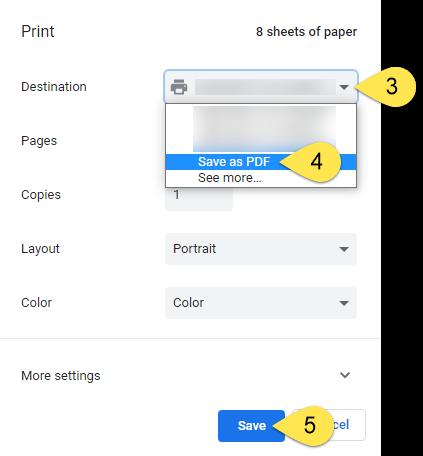 the Chrome print menu.