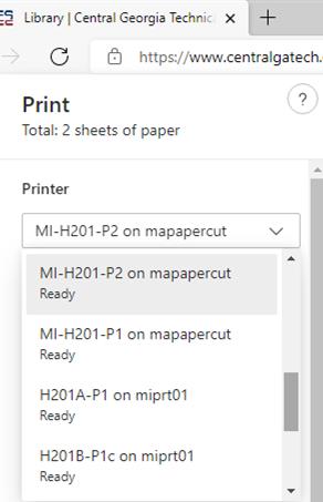 Edge print menu.