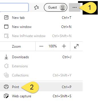 The Edge options menu.