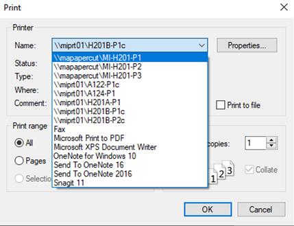 Firefox print menu.
