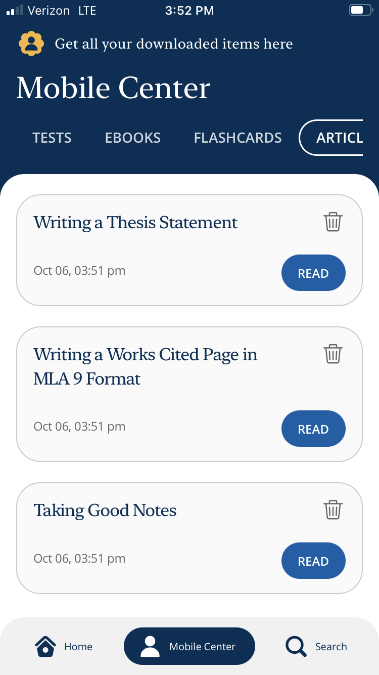 The LearningExpress mobile app. The articles category is displayed.