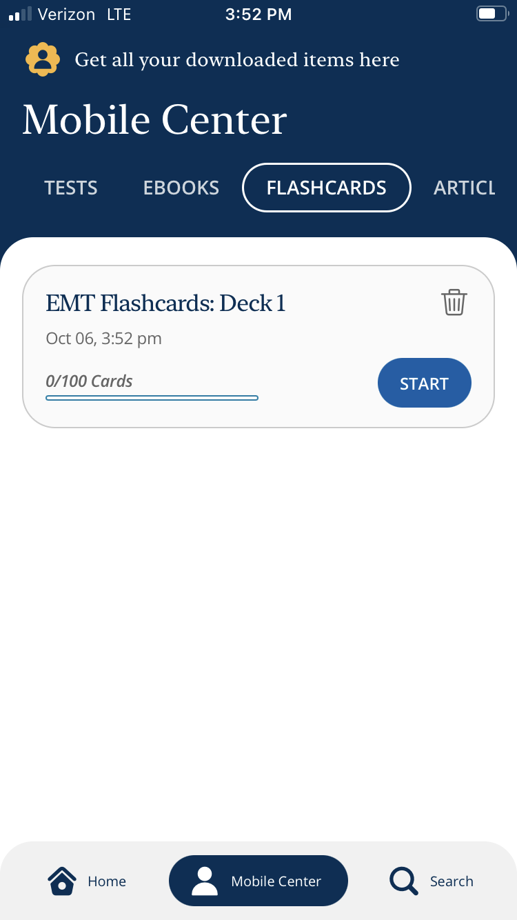 The LearningExpress mobile app. The flashcards category is displayed.