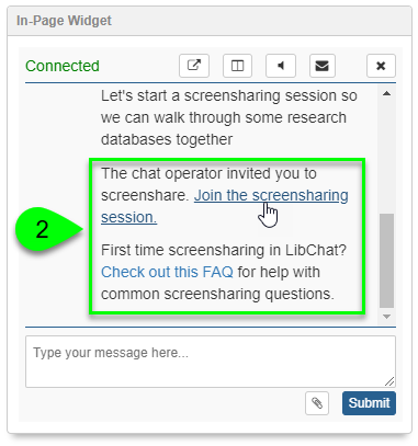 A screenshot of the LibAnswers in-page widget. The Join the screensharing session link is highlighted.