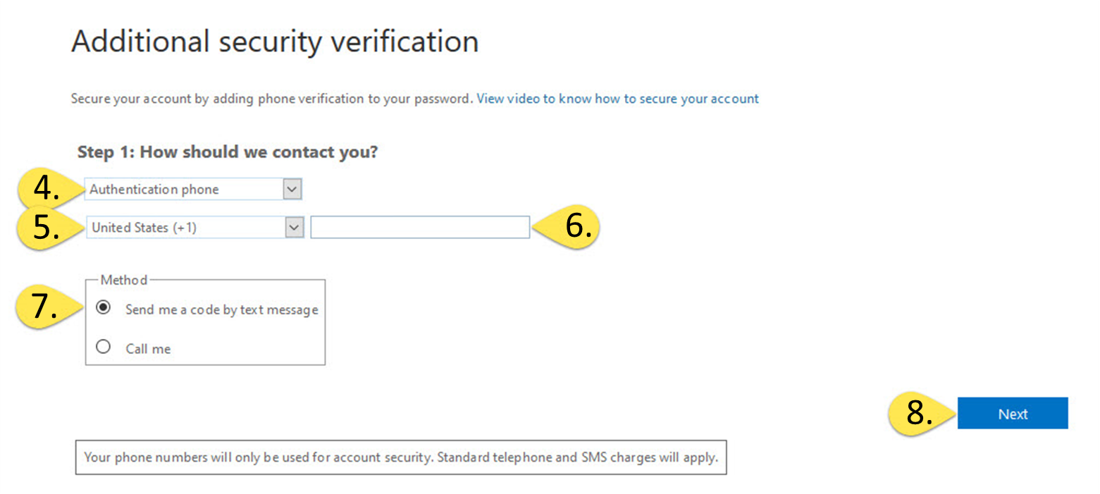 the additional security verification form, step 1