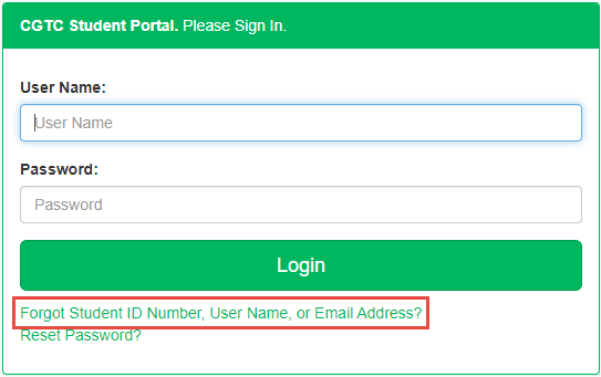 Student portal log in screen. Forgot Student ID Number, User Name, or Email Address is highlighted.