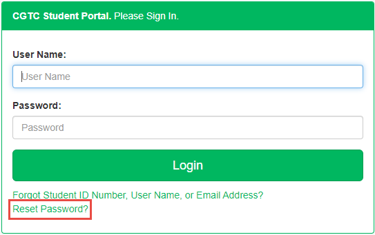 Student portal log in screen. Reset password is highlighted.