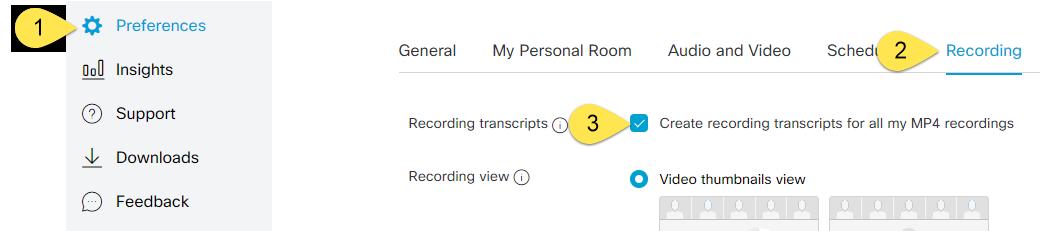 Recording Preferences menu.