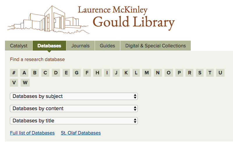 Image of databases tab on the library web site