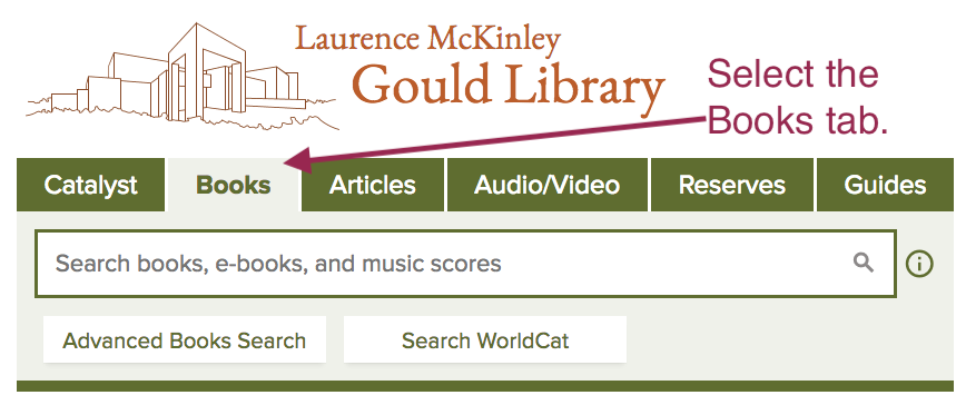 Screenshot example of library home page with Books tab selected