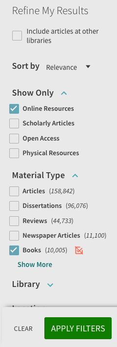 Screenshot of Catalyst filters selected for ebooks: Online and Books.