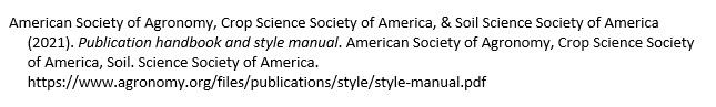 Citation of ASA/CSSA/SSSA Style manual
