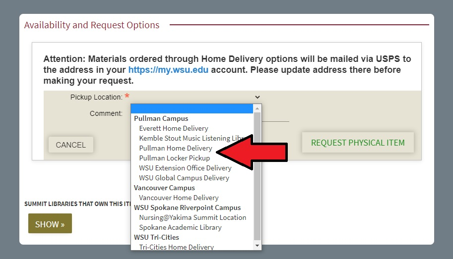 Requesting physical delivery dropdown menu in Search It interface