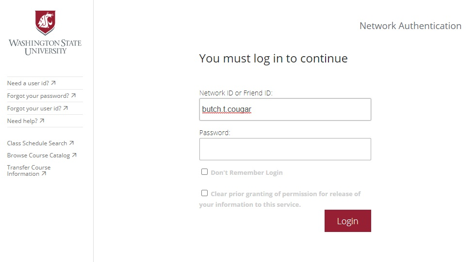 WSU Libraries' Search It log in interface