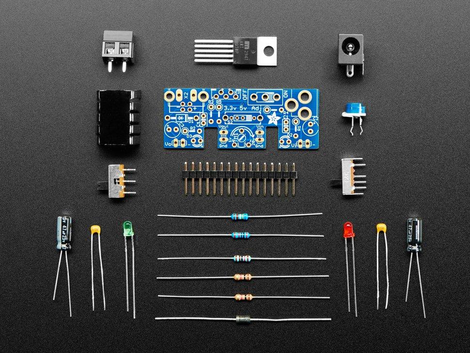 Image of Adjustable breadboard power supply kit V.10.
