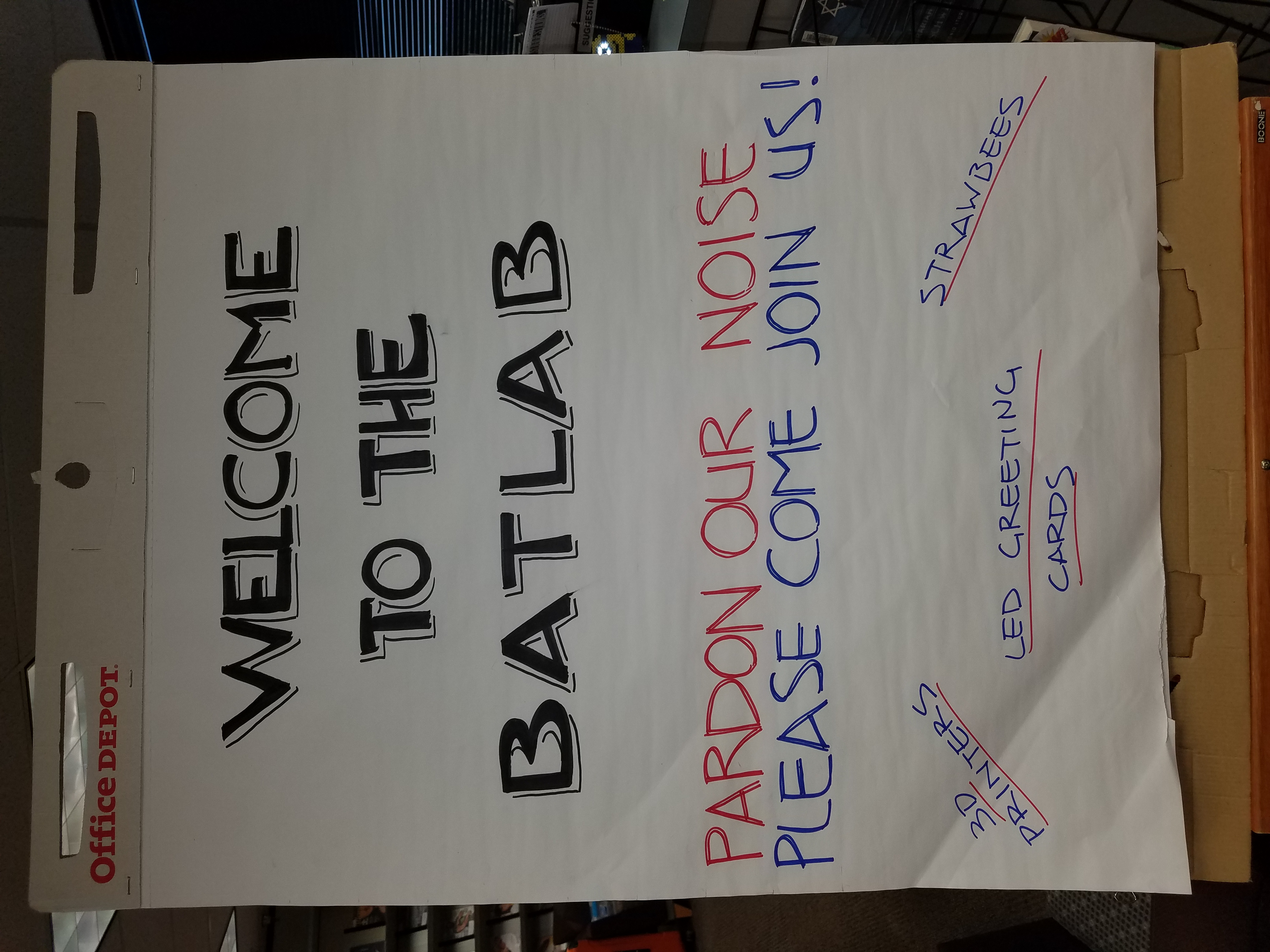 """Image of a sign that reads """"welcome to the BatLab"""""""
