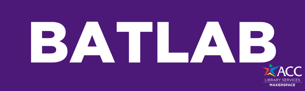 Purple Background Batlab with the ACC Library Services Makerspace Star logo