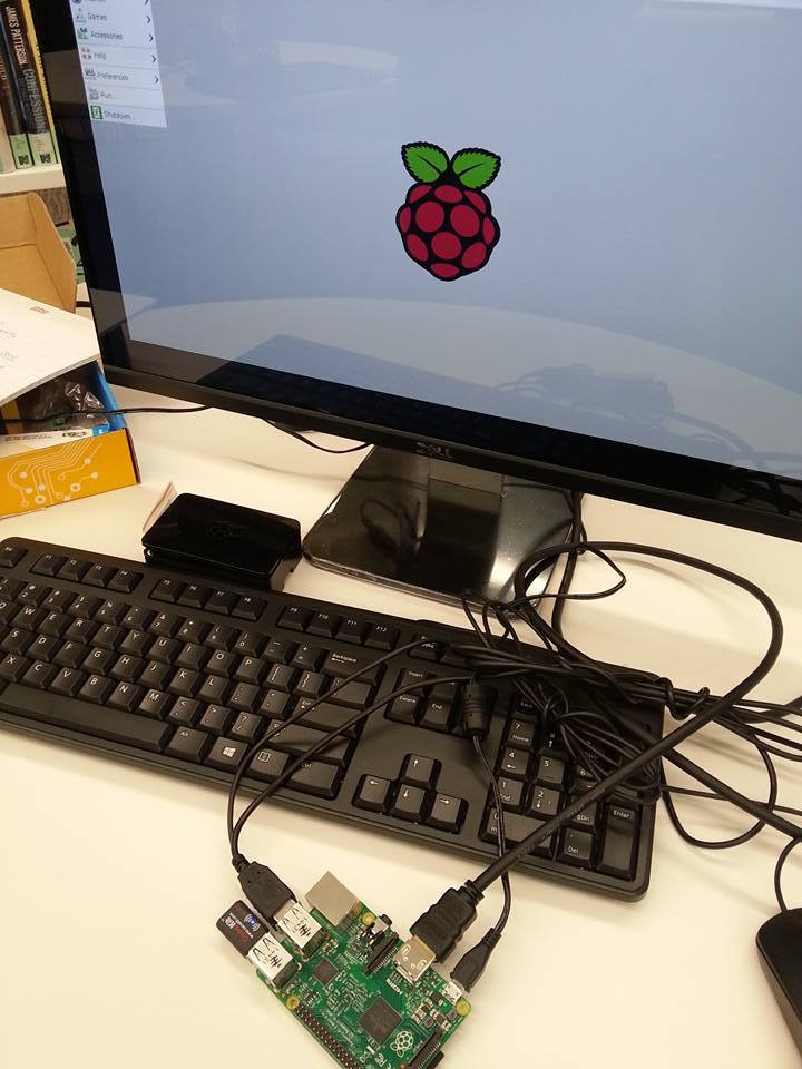 Image of  raspberry pi connected to a computer monitor