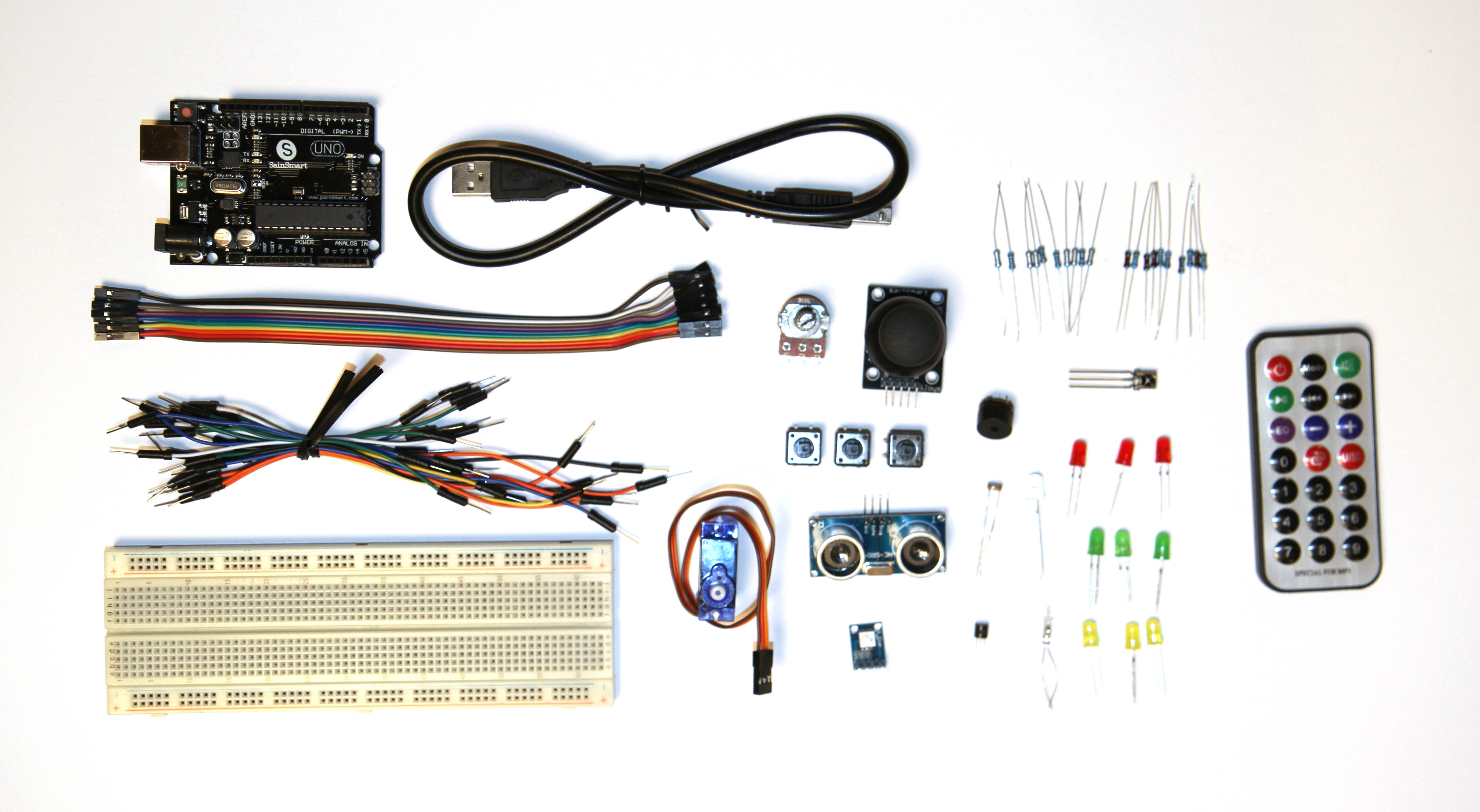 Ardunio Kit Image with remote and LED lights