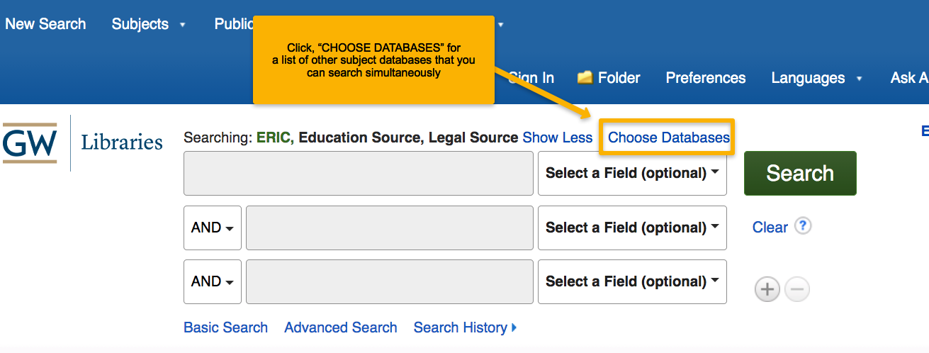 """Click """"choose databases"""" to select and search in multiple databases at the same time"""