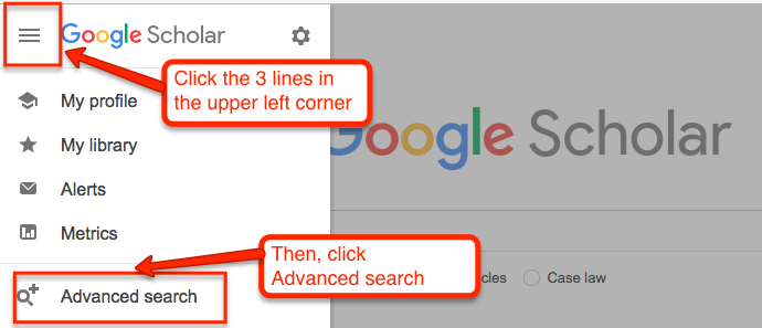 "To get to the Google Scholar advanced search screen, click the 3 lines in the upper left corner and then click ""Advanced Search"""
