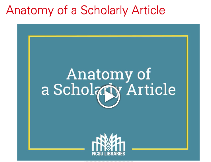 Anatomy of a Scholarly Article