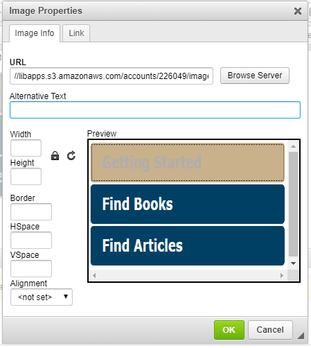 Image properties dialog box with focus on the Alternative Text input