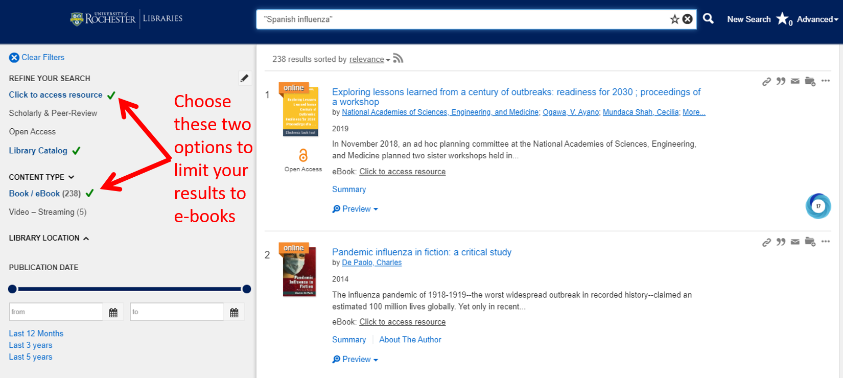Screenshot showing Summon filters for Full Text Online and Book/eBook