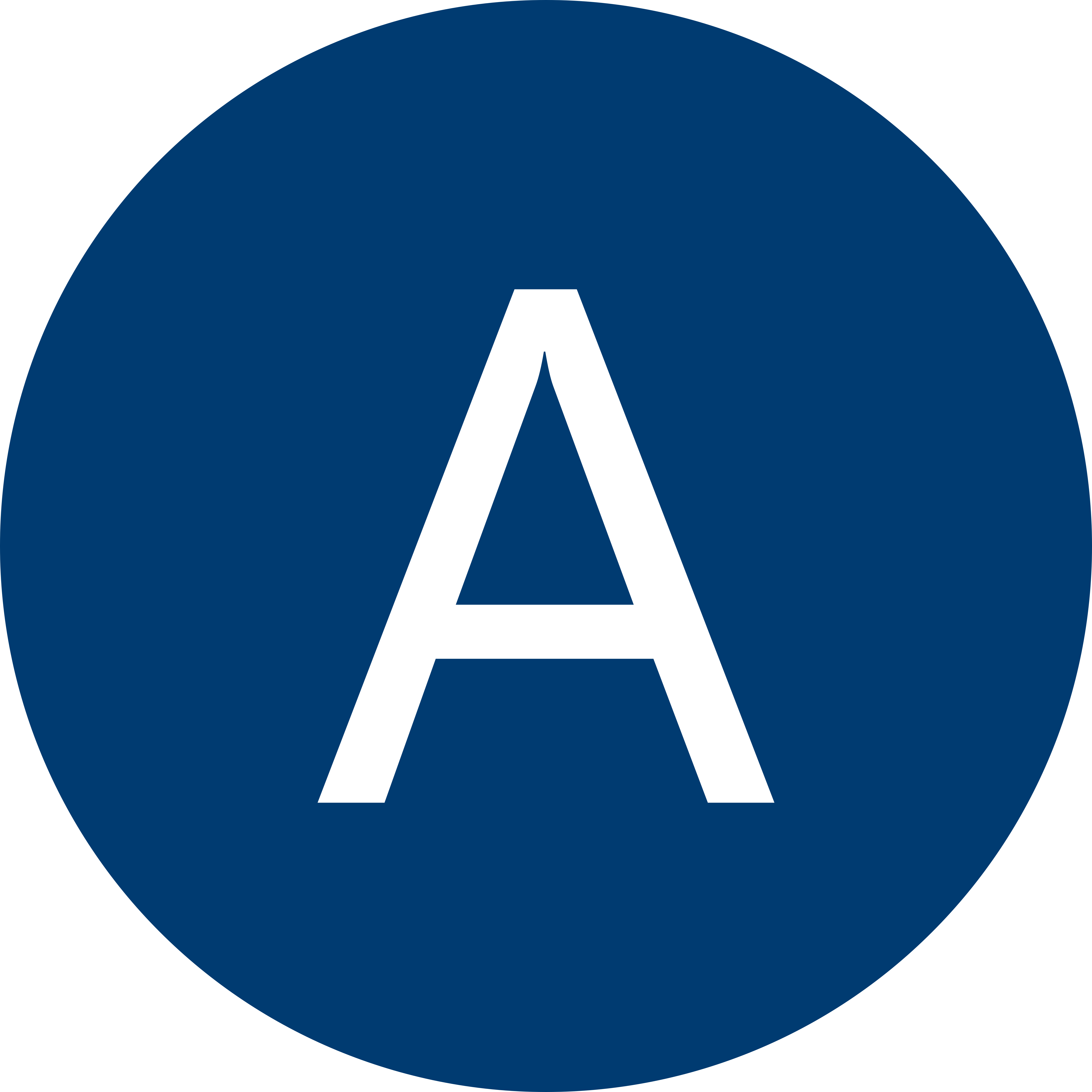 Blue circle with a white letter A inside