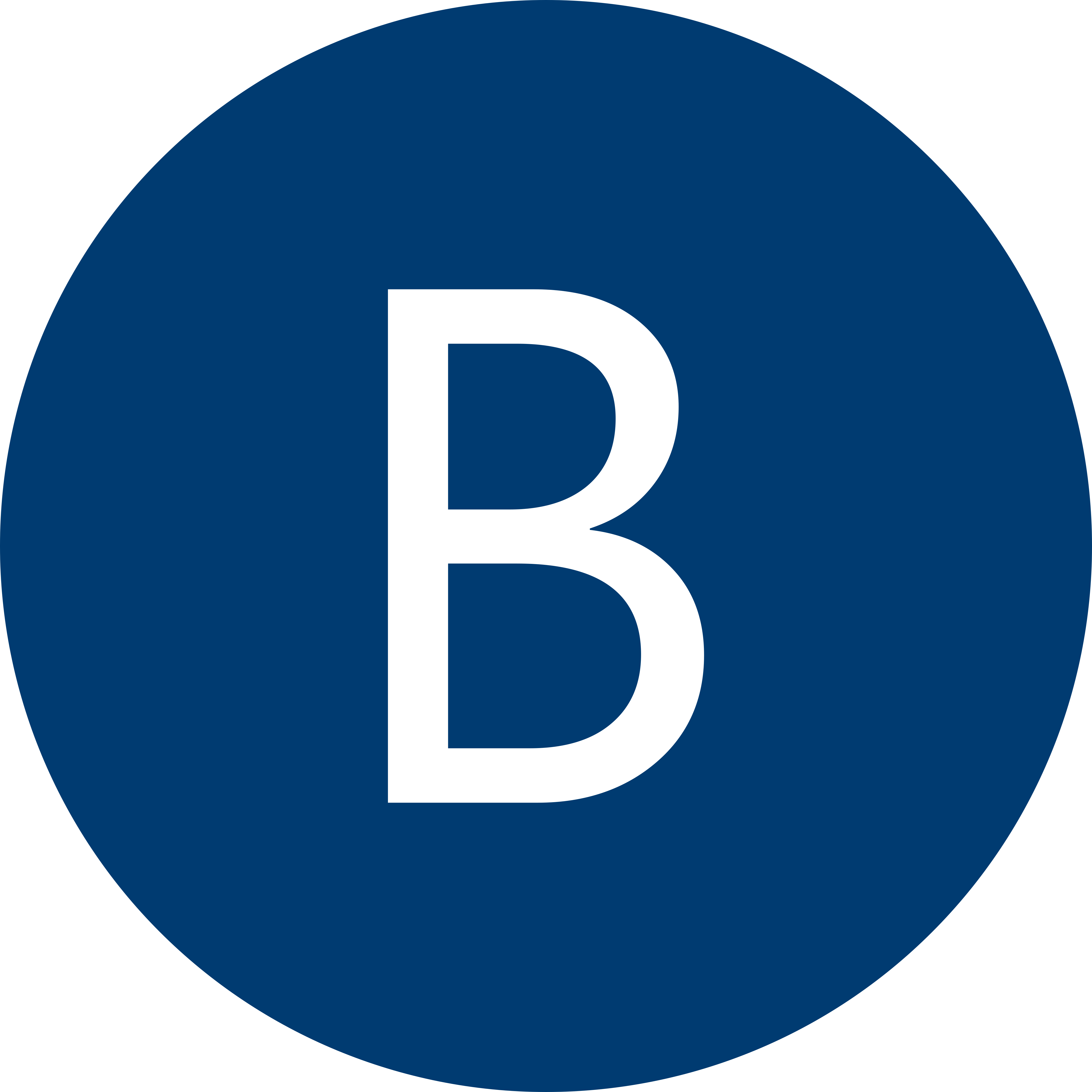 Blue circle with a white letter B inside