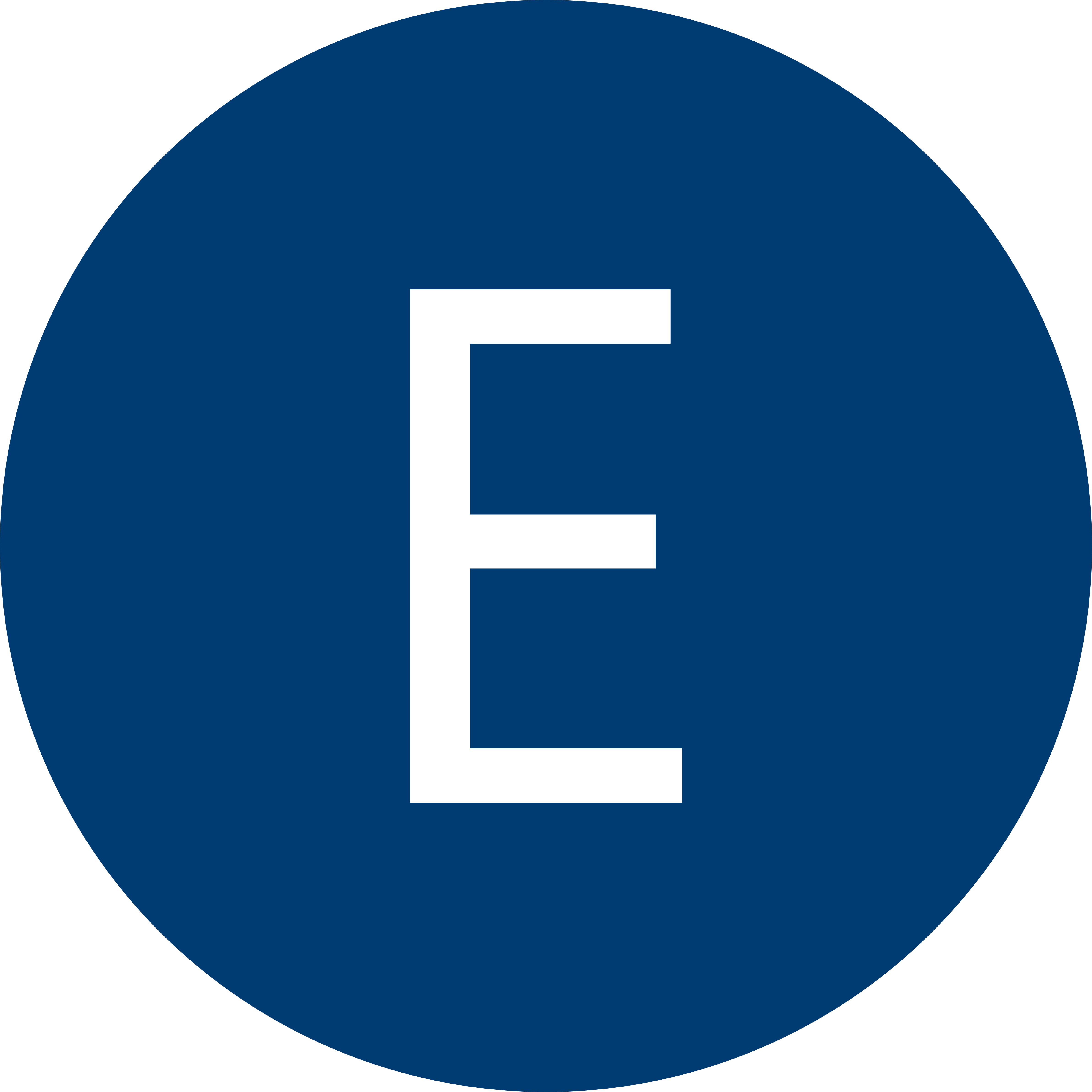 Blue circle with a white letter E inside