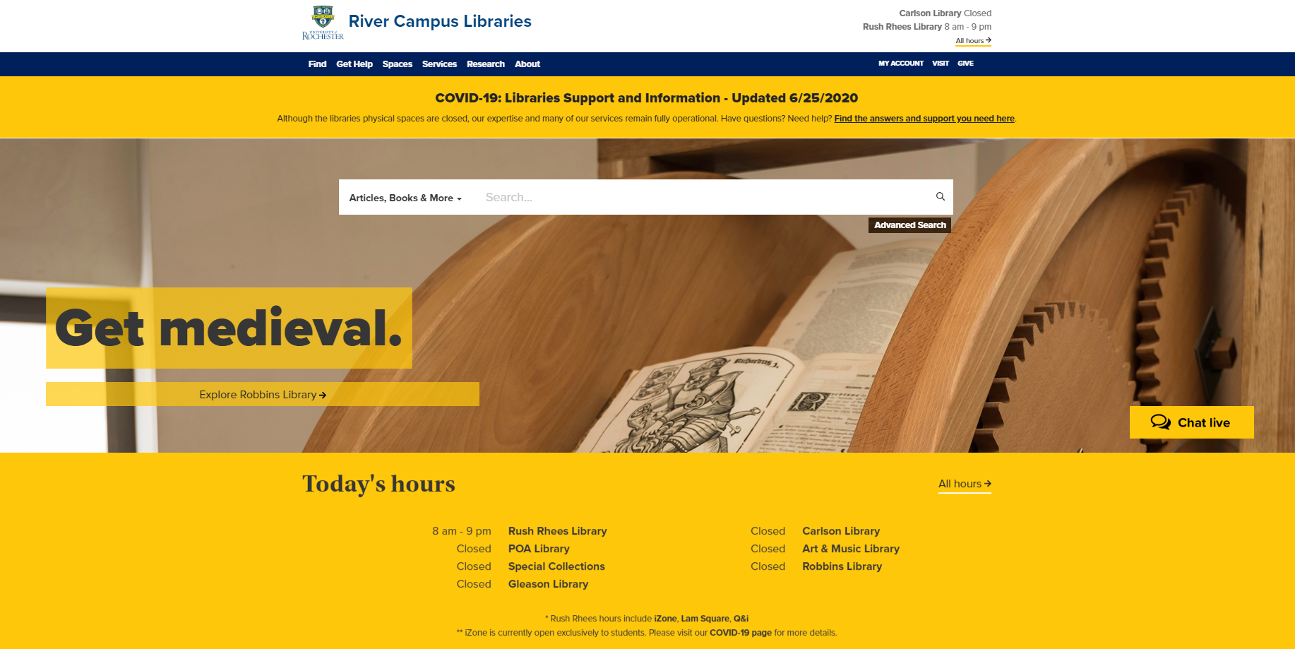 Screenshot of the River Campus Libraries homepage