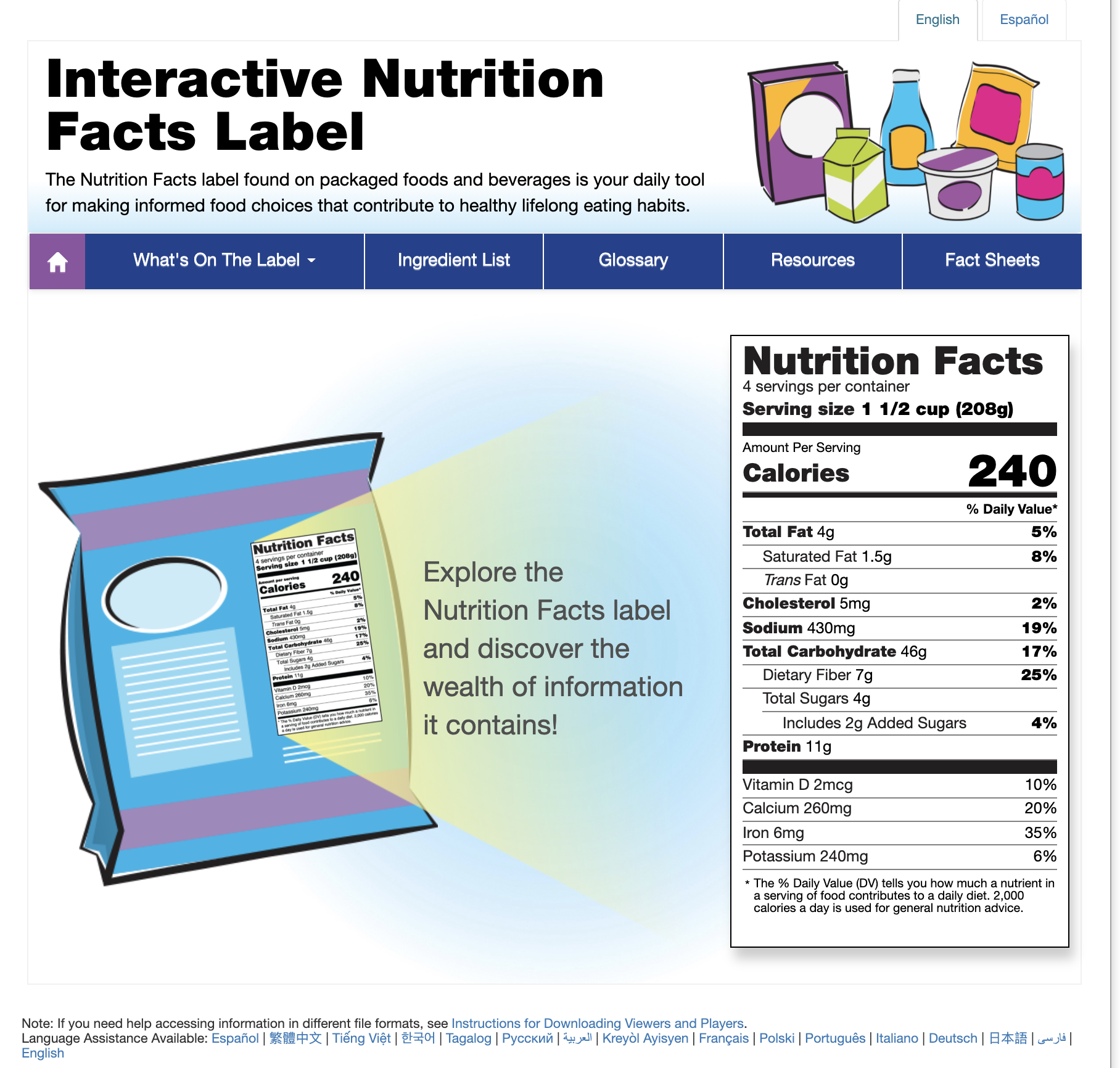 Interactive Nutrition Facts Label