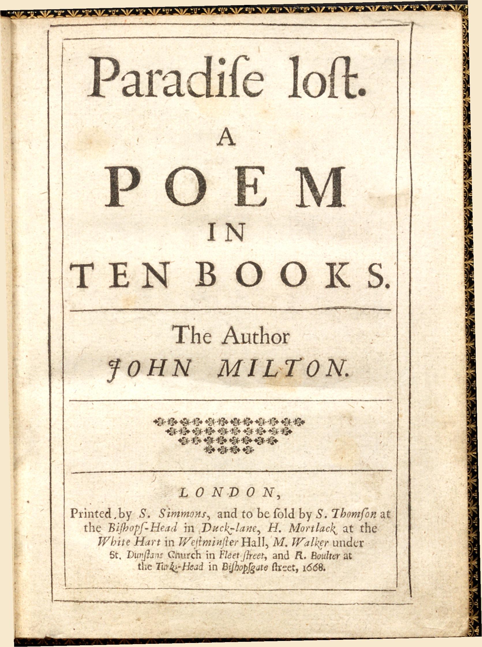 John Milton's Paradise Lost  (1668)