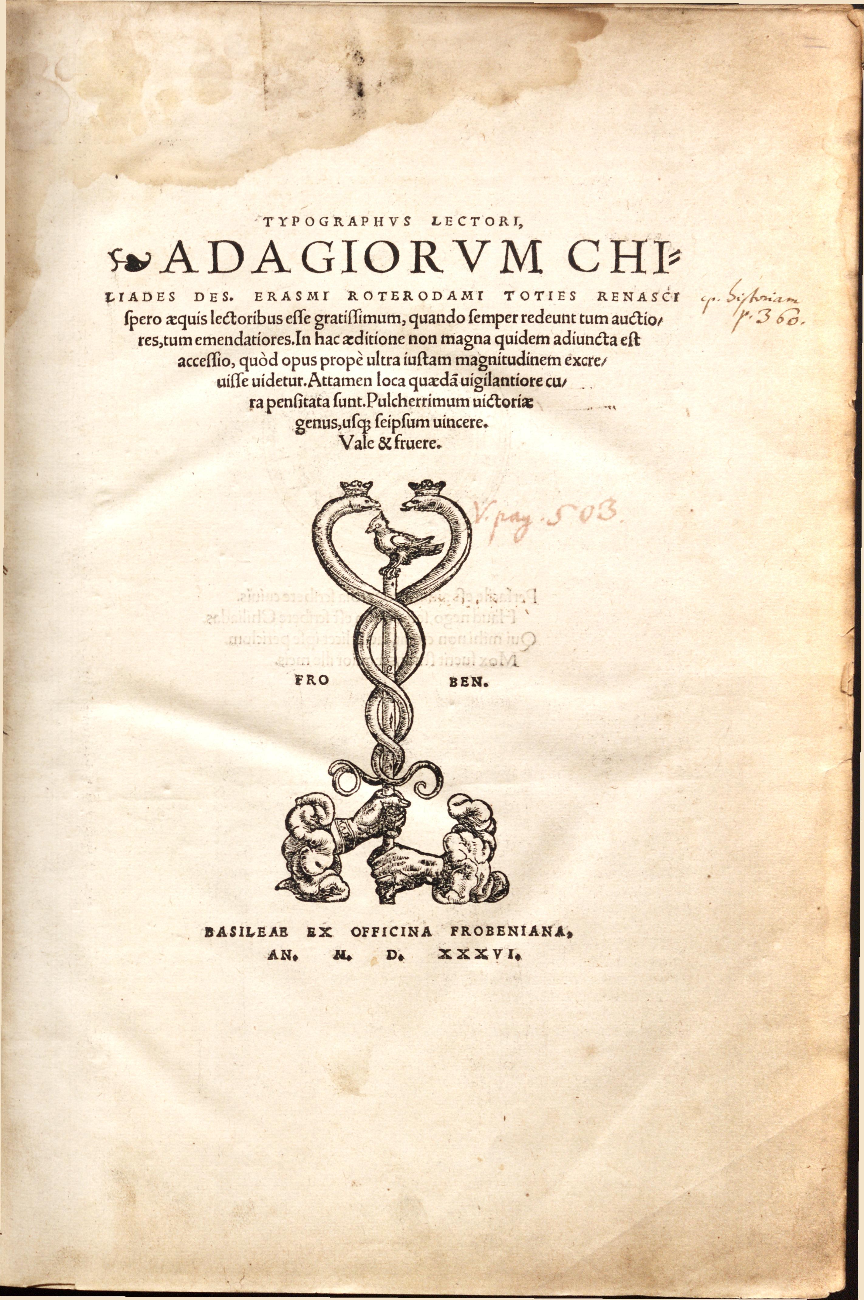 Erasmus's Adagia (1536)