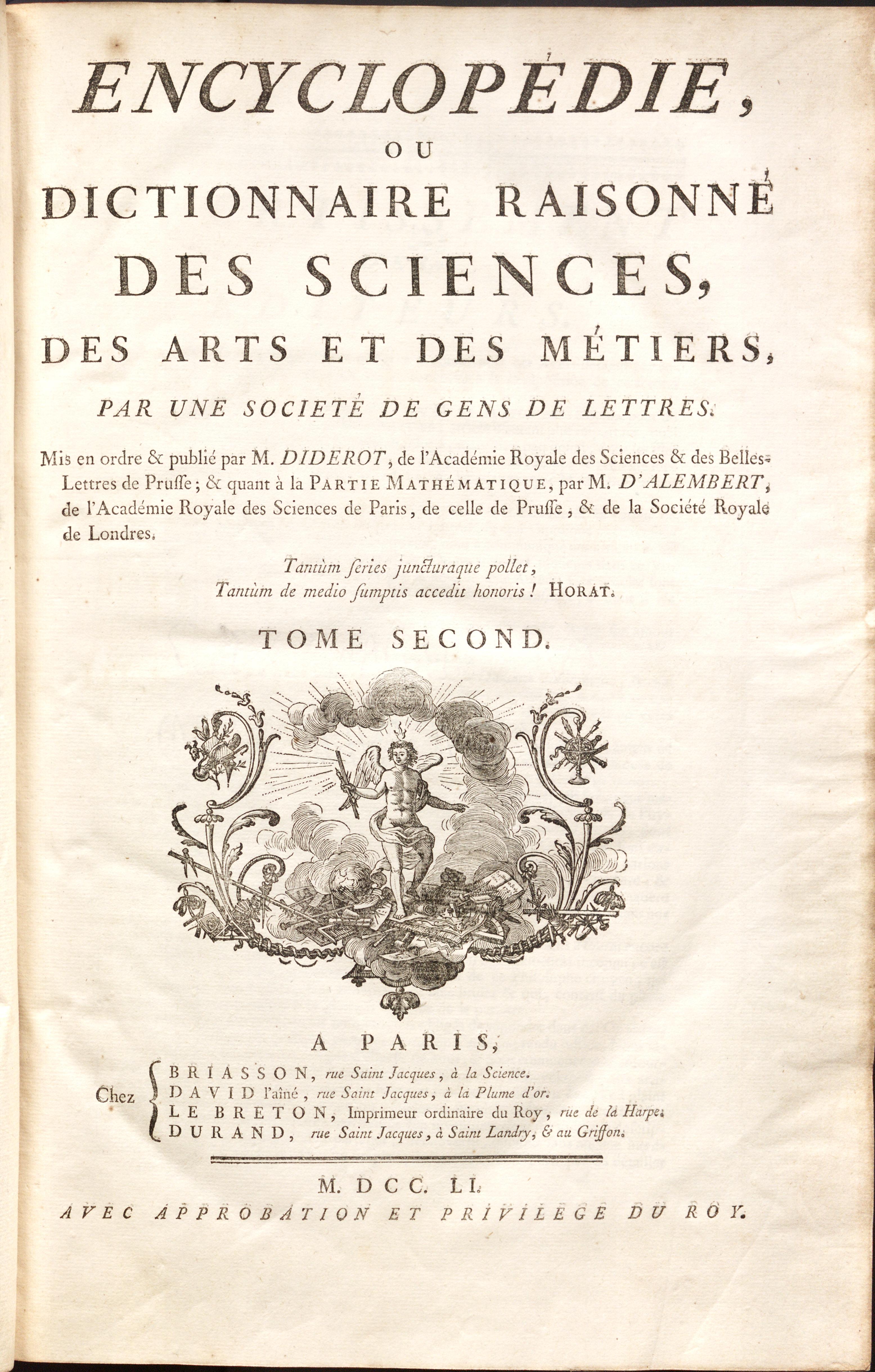 Diderot's Encylopedie (1751)