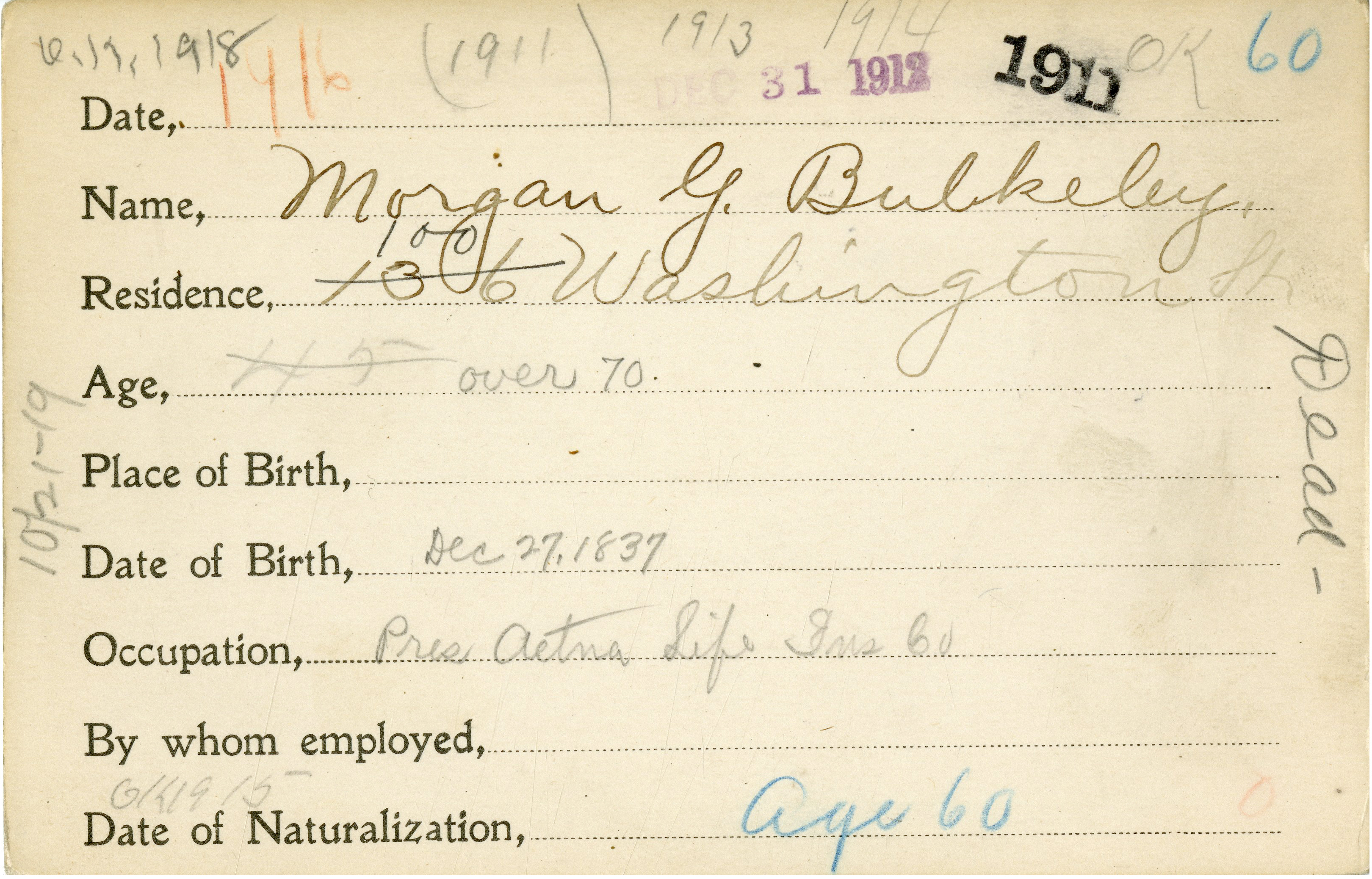 Morgan G. Bulkeley, Voter Registration Card
